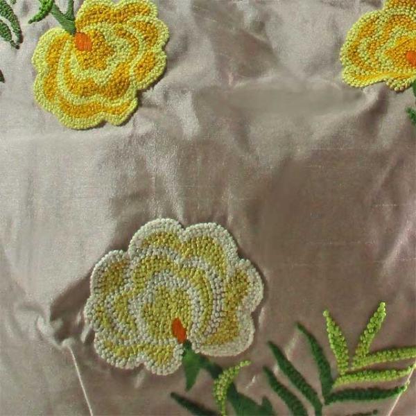 刺繍バッグ レディース シャンパンベージュ フラワー 花柄 フレンチナッツ タフタシルク ベトナム雑貨 ハンドメイド