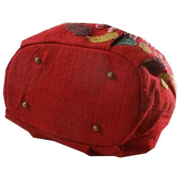 トートバッグ レディース レッド フラワー 花柄 アップリケ 麻 ヘンプ ベトナム雑貨 ハンドメイド