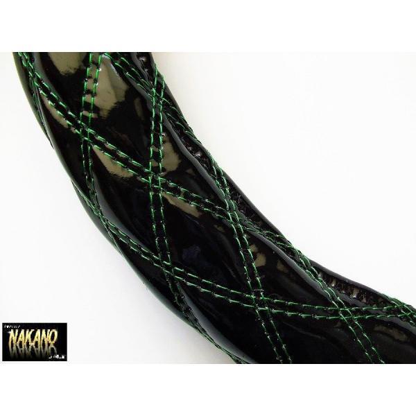 NAKANO 極太 ハンドルカバー エナメル黒/W糸緑 Sサイズから大型トラック