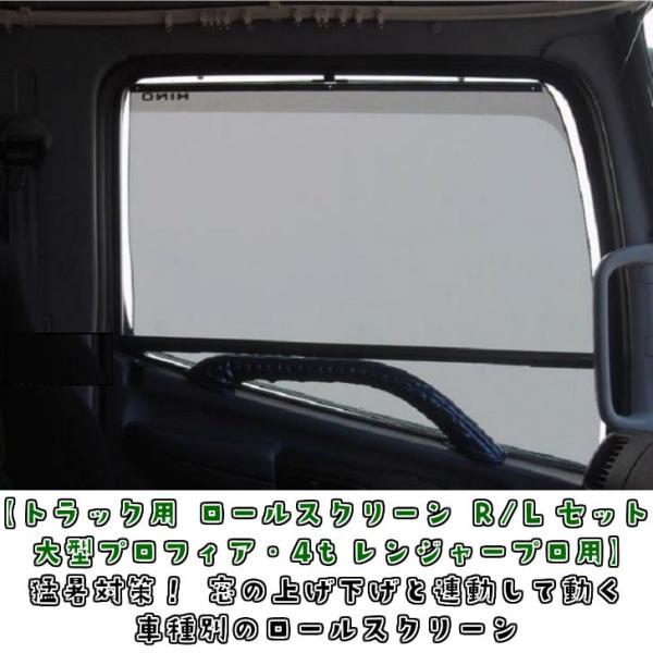 【キャッシュレス5%還元】遮光断熱効果抜群 トラック用ロールスクリーン R/Lセット グランドプロフィア/17プロフィア/レンジャープロ/17レンジャー|truckshop-nakano