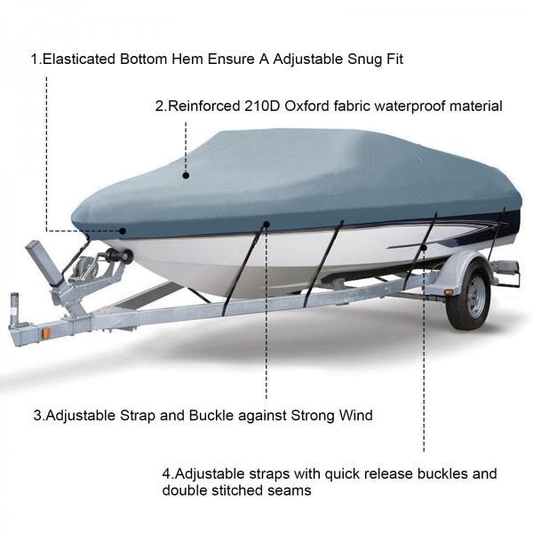ボートカバー 防水 グレー色あせしない UV プロテクト スピードボートカバー ボート備品|trueblue|05