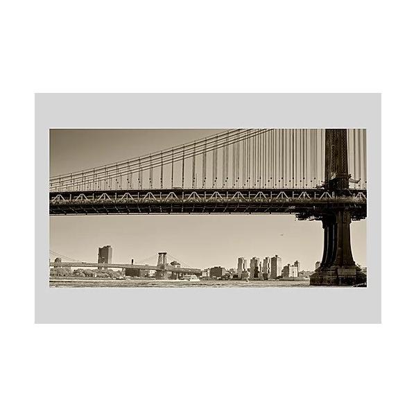 インテリア 絵 ポスター 雑貨 風景写真 アート ニューヨーク マンハッタンブリッジと遠くにウィリアムズバーグブリッジ アルミ額 木製額