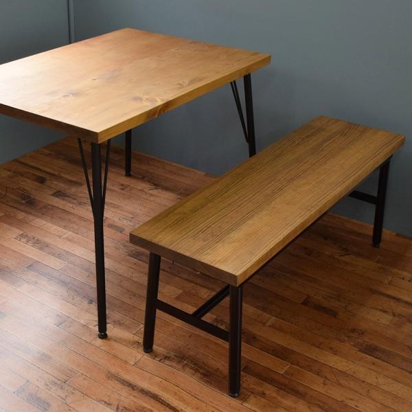 【ベンチ】アイアンベンチ 木製ベンチ ダイニングテーブル 椅子 チェアー カフェテーブル コーヒーテーブル シンプル モダン 天然木|trunk-furniture|02