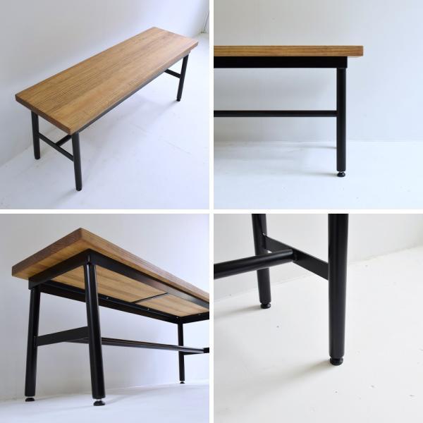 【ベンチ】アイアンベンチ 木製ベンチ ダイニングテーブル 椅子 チェアー カフェテーブル コーヒーテーブル シンプル モダン 天然木|trunk-furniture|03