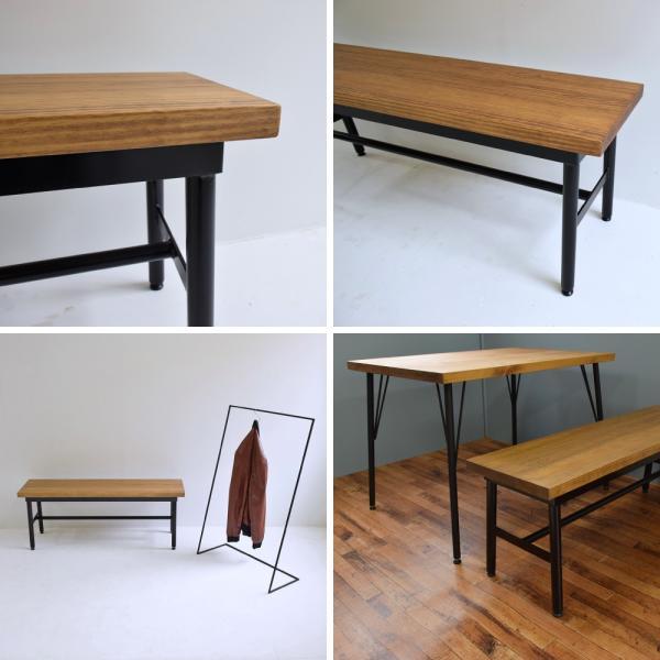 【ベンチ】アイアンベンチ 木製ベンチ ダイニングテーブル 椅子 チェアー カフェテーブル コーヒーテーブル シンプル モダン 天然木|trunk-furniture|04