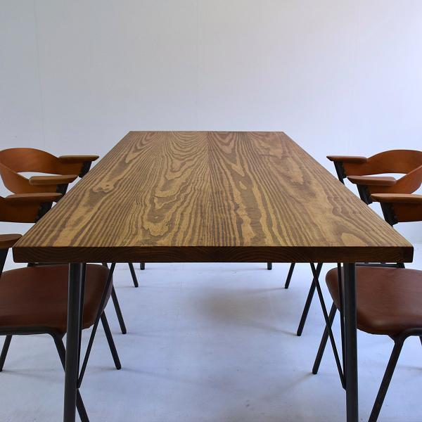 180×80cm 180センチ パイン無垢のダイニングテーブル 引き出し 学習机 作業台 手作り ハンドメイド 4人用 コーヒーテーブル カフェテーブル アイアン脚|trunk-furniture|02