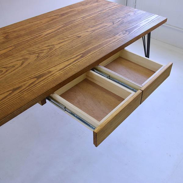 180×80cm 180センチ パイン無垢のダイニングテーブル 引き出し 学習机 作業台 手作り ハンドメイド 4人用 コーヒーテーブル カフェテーブル アイアン脚|trunk-furniture|05