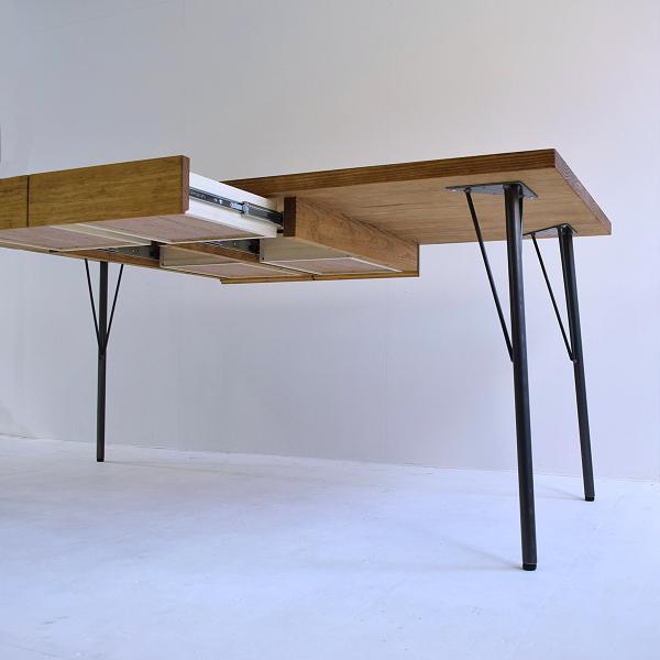 180×80cm 180センチ パイン無垢のダイニングテーブル 引き出し 学習机 作業台 手作り ハンドメイド 4人用 コーヒーテーブル カフェテーブル アイアン脚|trunk-furniture|06