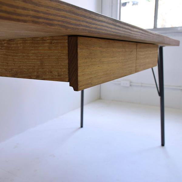 180×80cm 180センチ パイン無垢のダイニングテーブル 引き出し 学習机 作業台 手作り ハンドメイド 4人用 コーヒーテーブル カフェテーブル アイアン脚|trunk-furniture|08