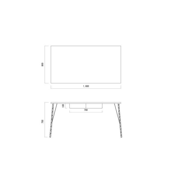 180×80cm 180センチ パイン無垢のダイニングテーブル 引き出し 学習机 作業台 手作り ハンドメイド 4人用 コーヒーテーブル カフェテーブル アイアン脚|trunk-furniture|10