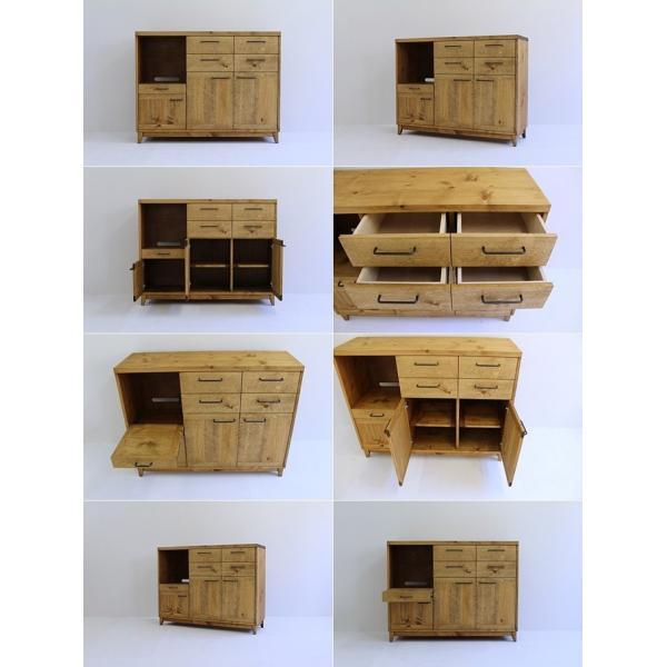 キッチンボード 120センチ パイン無垢 アイアン 収納 天然木 ハンドメイド 食器 引出し カップボード キッチンカウンター レンジ台 北欧木製|trunk-furniture|04