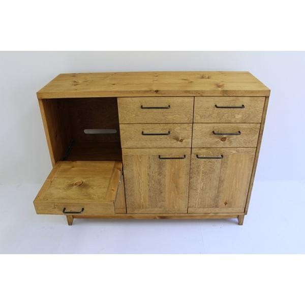 キッチンボード 120センチ パイン無垢 アイアン 収納 天然木 ハンドメイド 食器 引出し カップボード キッチンカウンター レンジ台 北欧木製|trunk-furniture|05