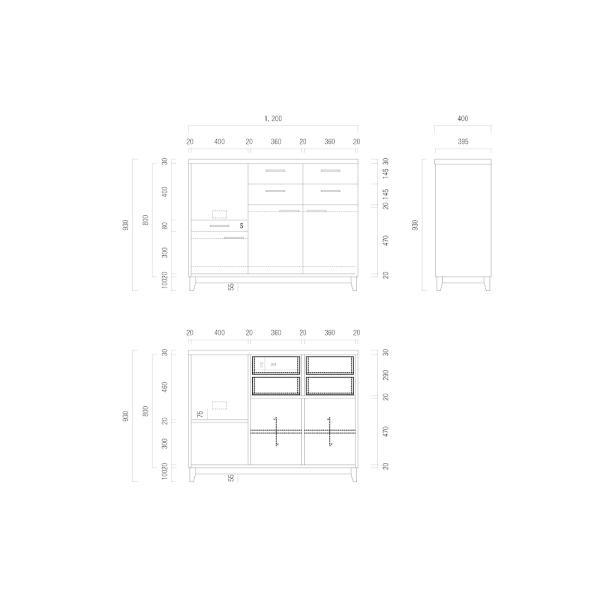 キッチンボード 120センチ パイン無垢 アイアン 収納 天然木 ハンドメイド 食器 引出し カップボード キッチンカウンター レンジ台 北欧木製|trunk-furniture|06