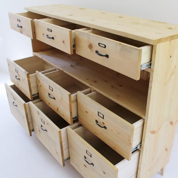 キッチンボード 150センチ パイン無垢 アイアン 収納 天然木 ハンドメイド 食器 タンス ドロワー 引出し カップボード キッチンカウンター|trunk-furniture|02