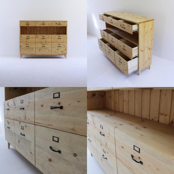 キッチンボード 150センチ パイン無垢 アイアン 収納 天然木 ハンドメイド 食器 タンス ドロワー 引出し カップボード キッチンカウンター|trunk-furniture|03