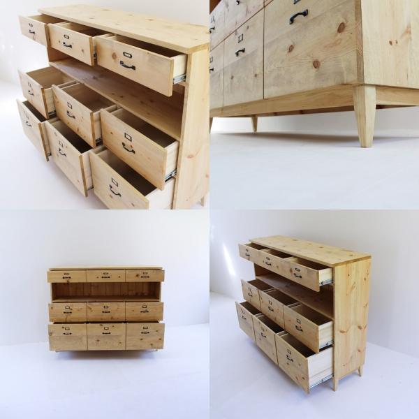 キッチンボード 150センチ パイン無垢 アイアン 収納 天然木 ハンドメイド 食器 タンス ドロワー 引出し カップボード キッチンカウンター|trunk-furniture|04