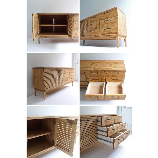 サイドボード 150センチ パイン無垢 グラス棚 コップ棚 カップボード 鉄脚 コレクション棚 手作り ハンドメイド オーダー アイアン|trunk-furniture|04
