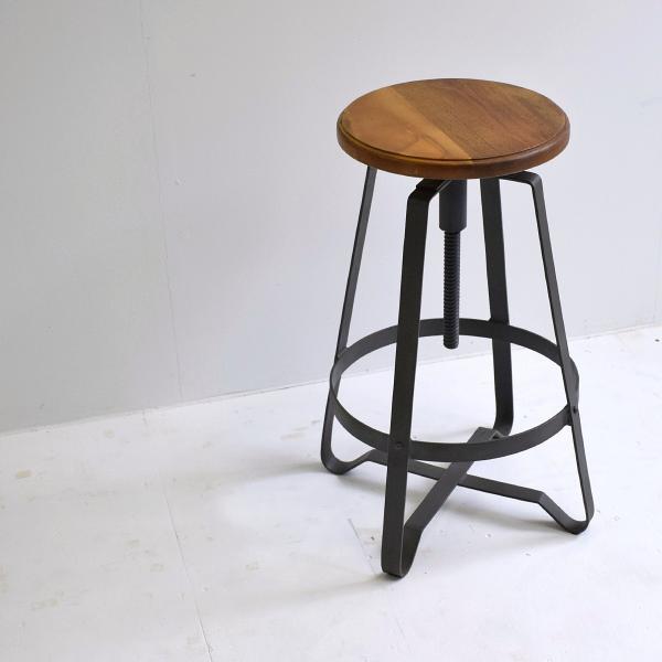 ハイスツール 木製 什器 インダストリアル家具 チェア 回転昇降式 アイアンハイスツール 椅子 円形 丸イス アイアンや無垢材の家具によく合う|trunk-furniture|02