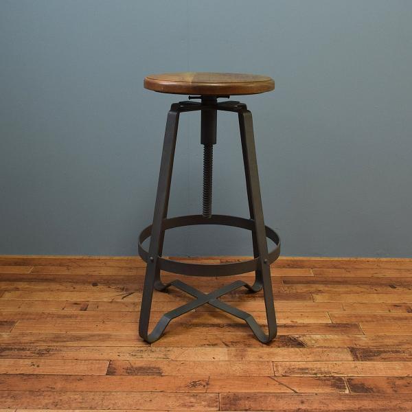 ハイスツール 木製 什器 インダストリアル家具 チェア 回転昇降式 アイアンハイスツール 椅子 円形 丸イス アイアンや無垢材の家具によく合う|trunk-furniture|03