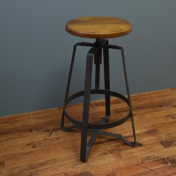 ハイスツール 木製 什器 インダストリアル家具 チェア 回転昇降式 アイアンハイスツール 椅子 円形 丸イス アイアンや無垢材の家具によく合う|trunk-furniture|04