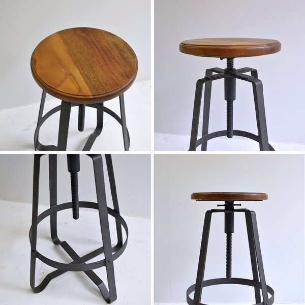 ハイスツール 木製 什器 インダストリアル家具 チェア 回転昇降式 アイアンハイスツール 椅子 円形 丸イス アイアンや無垢材の家具によく合う|trunk-furniture|05