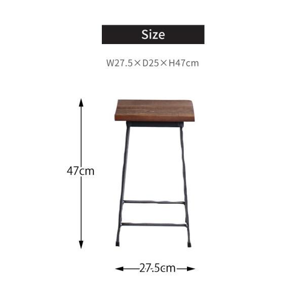 アイアンスツール Iron stool ヴィンテージ加工を施したパイン無垢材とアイアンのコンビネーションが際立つスツール インダストリアル  おしゃれ|trunk-furniture|08