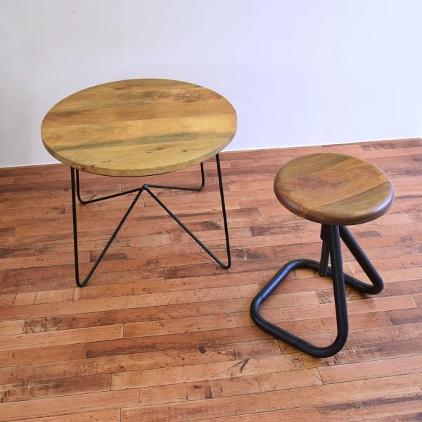【インダストリアル家具 スツール チェア 回転昇降式】アイアンスツール 椅子 円形 丸イス 木製スツール|trunk-furniture|02