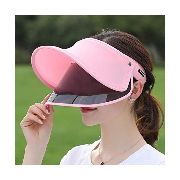 SANMU 日除け帽子 レディース サンバイザー 紫外線対策 日焼け対策 ハット バイザー 2重 構造 二種類 視界良好 通気性抜群 (ピンク)|trywall