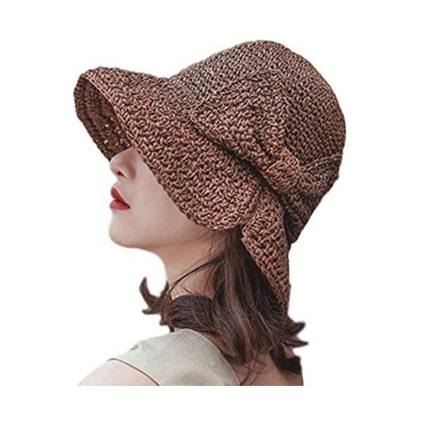 JULLINA 小顔効果 帽子 夏 つば広 紫外線カット ペーパーコットン リボン 大きめ 高通気性 折りたたみ(ブラウン Free Size) trywall
