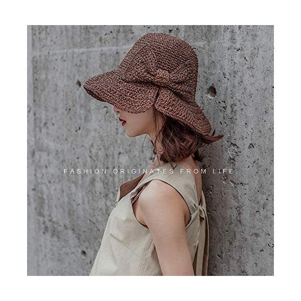 JULLINA 小顔効果 帽子 夏 つば広 紫外線カット ペーパーコットン リボン 大きめ 高通気性 折りたたみ(ブラウン Free Size) trywall 08