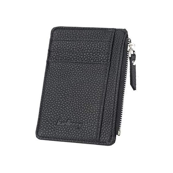 ヴァリオ カードケースミニ財布フラグメントケース小銭入れ薄型シンプルl字ファスナー財布(ブラック)