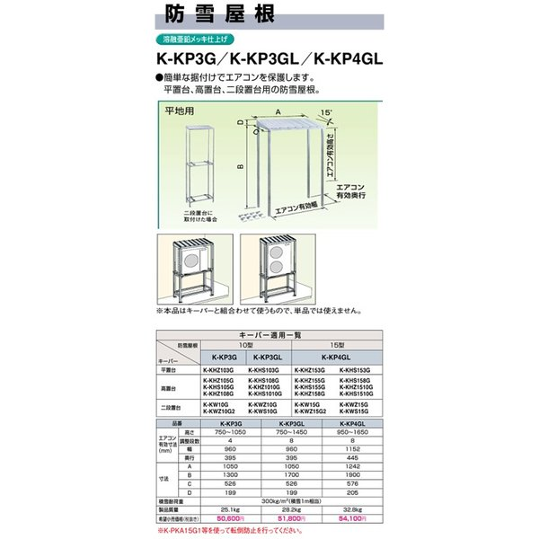 ●オーケー器材(ダイキン) エアコン部材 パッケージエアコン用シリーズ PGキーパー関連部品 防雪屋根(平・高・二段置台用)10型 溶融亜鉛メッキ仕上 K-KP3GL