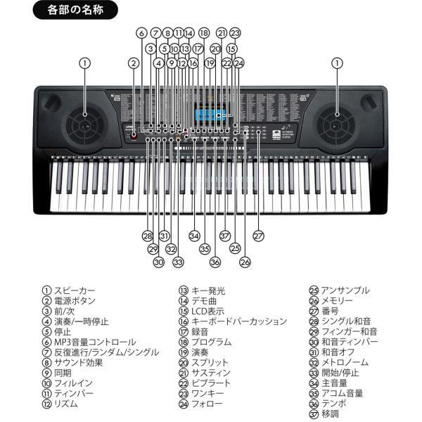 電子キーボード 61鍵盤 電子ピアノ 初心者 PlayTouchFlash61 発光キー 光る鍵盤 キーボード ピアノ 入門用としても Sunruck サンルック SR-DP04|tsuhan-com|19