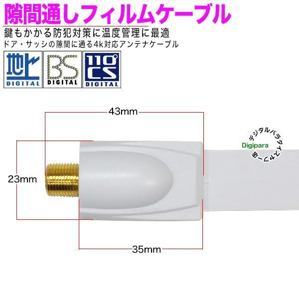 フイルムアンテナケーブル薄さ 0.25mm F端子(メス)⇔F端子(メス)長さ:約24cm 75Ω・ COMON F-FL ・ 隙間通し デジパラ C83965|tsuhan-express|04