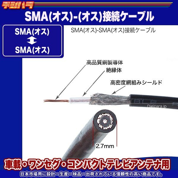 SMA(オス)⇔SMA(オス) 30cmケーブル COMON SMA-03  ワンセグ・車載機器 接続用 デジパラ C84627