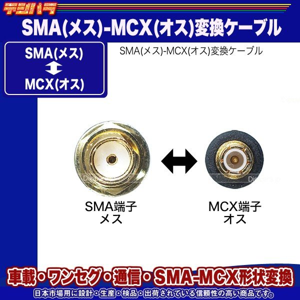 SMA⇔MCX変換ケーブル SMA(メス)⇔MCX(オス)全長:約10cm ワンセグ 無線機 業務機器 車載機器 通信 計測用 SMAMCX-01 tsuhan-express 02