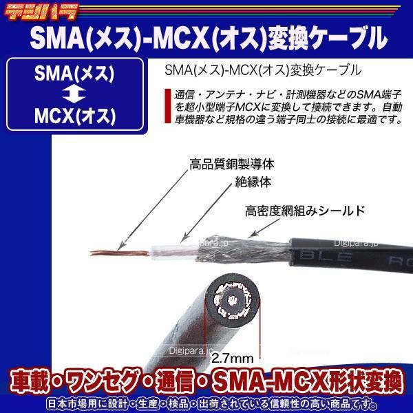 SMA⇔MCX変換ケーブル SMA(メス)⇔MCX(オス)全長:約10cm ワンセグ 無線機 業務機器 車載機器 通信 計測用 SMAMCX-01 tsuhan-express 06