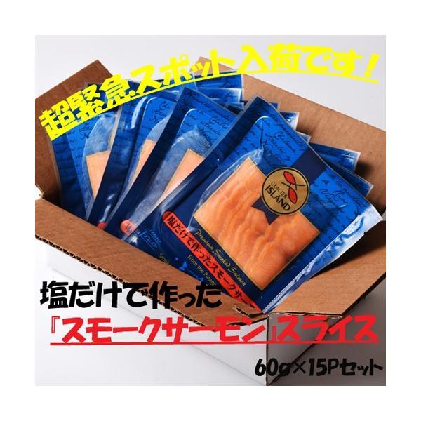 鮭 さけ サケ サーモン  塩だけで作った スモークサーモン  60g × 15P 計900g 冷凍 送料無料 tsukiji-ichiba2