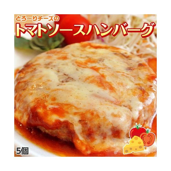 ハンバーグ トマトソース 120g×5個 トマト チーズ 惣菜 お弁当 冷凍 同梱可能