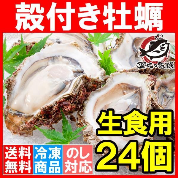 生牡蠣 殻付き 生食用カキ(24個入り 冷凍殻付き牡蠣 生食用)