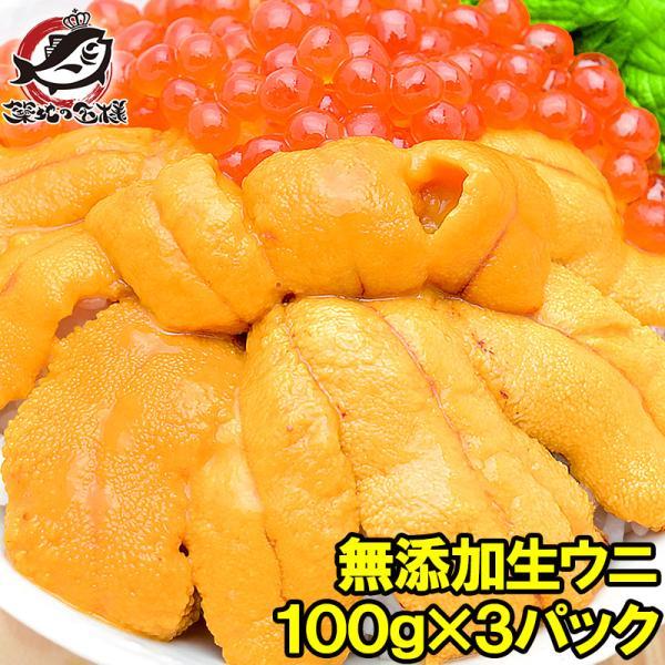 生ウニ 生うに 冷凍 無添加 天然 300g 100g×3パック(ウニ うに 雲丹)|tsukiji-ousama