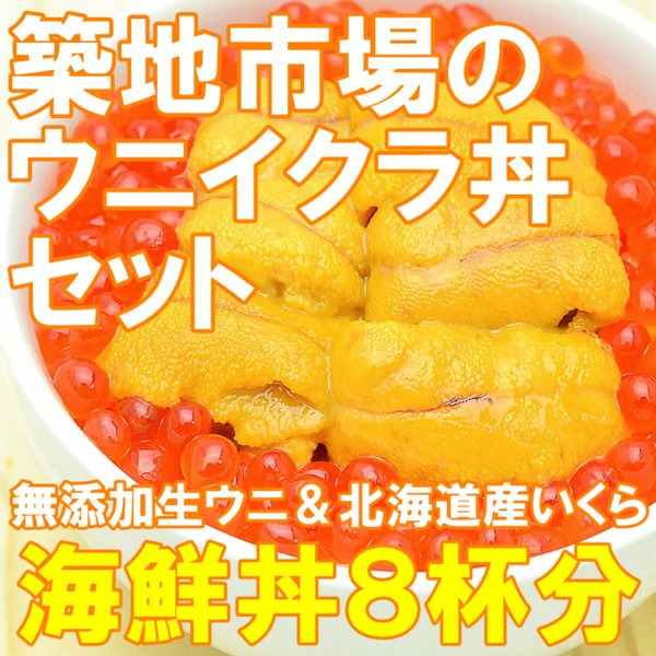 築地市場のウニイクラ丼セット(8杯分・無添加生ウニ400g&いくら醤油漬け400g)海鮮丼で約8杯分