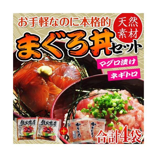 『まぐろ丼セット(マグロ漬け2P・ネギトロ2P)』 合計4P ※冷凍 sea ○ tsukijiichiba