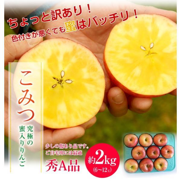 林檎 リンゴ 青森県産 ちょっと訳あり こみつりんご 6〜12玉 約2kg 秀A品 ムラ・小さな傷あり 常温 4箱まで同一配送先に送料1口で配送可能 tsukijiichiba 02