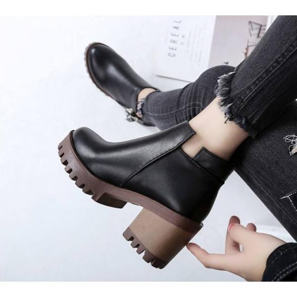 ブーツ ショートブーツ 厚底 ブーティー ジッパー ウェッジ 歩きやすい 痛くない 秋冬 シューズ