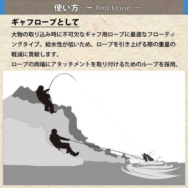フローティング ギャフロープ 8mm×6m デザートオレンジ 新品 クエ アラ 石鯛 ヒラマサ 大型魚用 CHONMAGE FISHING|tsuriking|05
