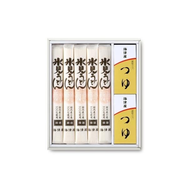 海津屋 氷見うどん セット 細麺 国内産小麦100%使用 5本 つゆ5袋 × 2個