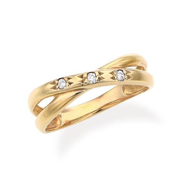 K18イエローゴールドダイヤモンドリング(ピンキーリング)