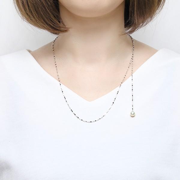 K10ホワイトゴールド淡水パールネックレス(7.5mm)