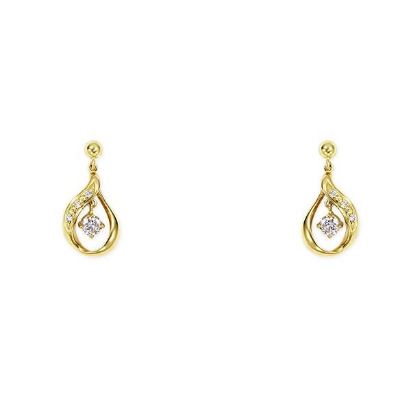 ツツミ ピアス K18 イエローゴールド ダイヤモンド ピアス 18金 ドロップ シンプル 上品